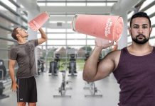 Athletes holding delicious smoothies