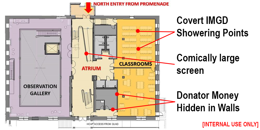 Foisie building plan with showering points highlighted